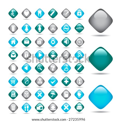Vector beautiful icon set.  Medicine - stock vector