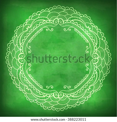 Vector beautiful lace frame on a green background with grunge effects. - stock vector