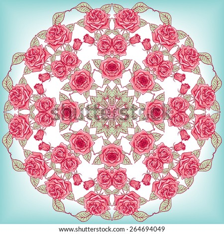 Vector Beautiful Mandala Roses Background. Floral Seamless Pattern with many details - stock vector
