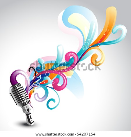vector beautiful mic with floral around it - stock vector