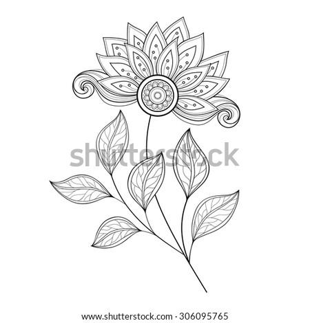 Vector Beautiful Monochrome Contour Flower, Floral Design Element - stock vector