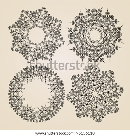 Vector beautiful ornamental rosettes.