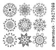 Vector beautiful ornamental rosettes set. For ethnic or tattoo design. - stock vector