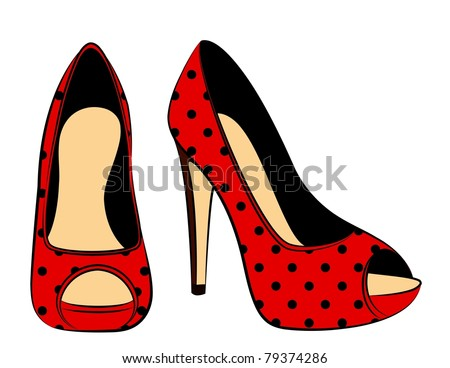 vector beautiful pair of shoes with high heel