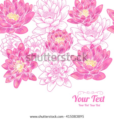 Vector  beautiful  pink water lily flowers horizontal frame pattern background . Invitation or greeting card design.Vector illustration