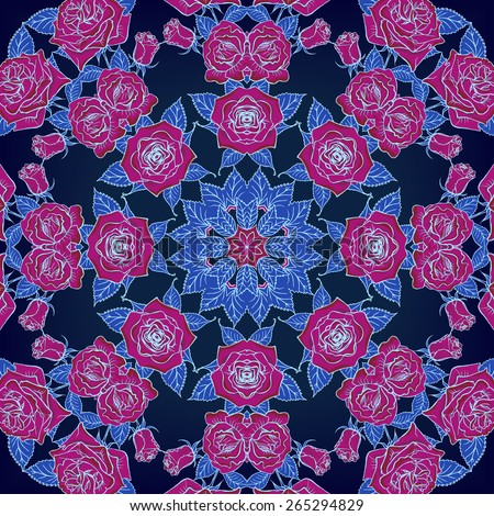 Vector Beautiful Roses Background.Seamless Pattern with many details - stock vector