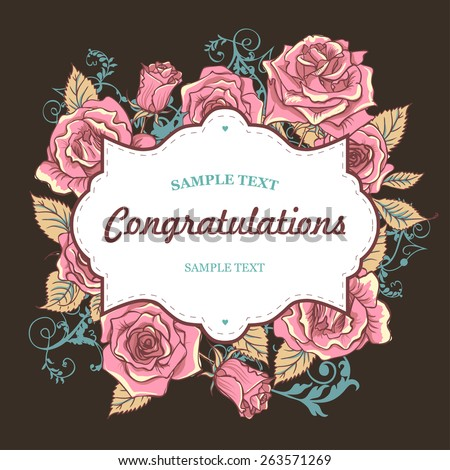 Vector Beautiful Roses Card with Frame for Text - stock vector