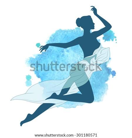 Vector beautiful slim female silhouette - stock vector