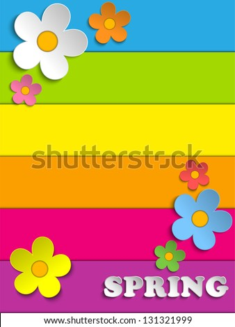 Vector - Beautiful Spring Flowers Rainbow Background - stock vector