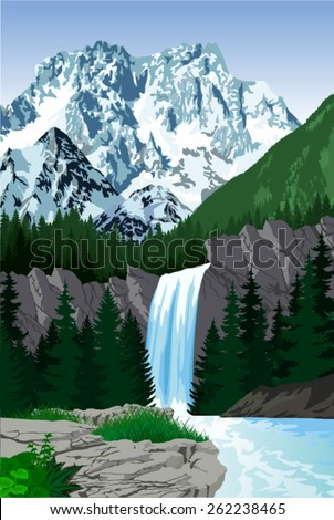 vector beautiful waterfall in mountains - stock vector