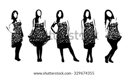 Vector beautiful woman silhouette set