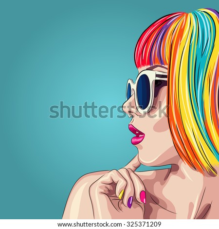 vector beautiful woman wearing colorful wig and white sunglasses. EPS - stock vector