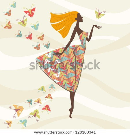 Vector beautiful woman with flying hair in bright dress with pattern made of stylized butterflies. Abstract illustration with concept of fashion, beauty. Colorful decorative background with personage - stock vector