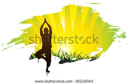 vector beautiful young boy doing yoga exercise outdoors