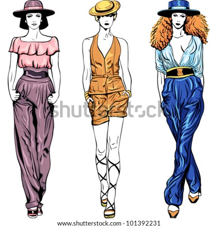 vector beautiful young girls in trouser suits and hats isolated on white background - stock vector
