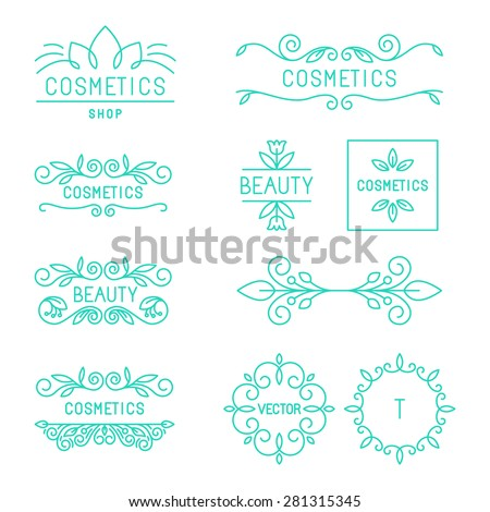 Vector beauty and cosmetics logos and labels in trendy linear style - organic and natural badges and icons  - stock vector