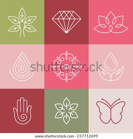 Vector beauty and spa line logos and signs - abstract design elements for salons and cosmetics - stock vector