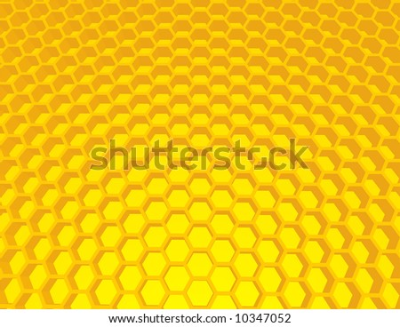 Vector beehive illustration, background with honey cells. - stock vector