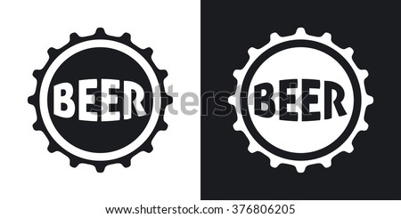 Vector beer bottle cap icon. Two-tone version on black and white background - stock vector