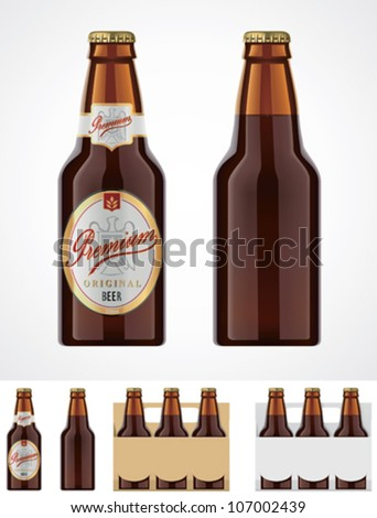 Vector beer bottle template or icon - stock vector