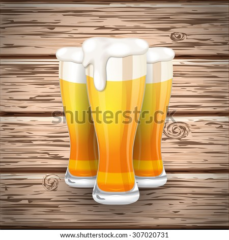 Vector beer mug glass on wooden plank background with shadow - stock vector