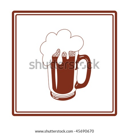 vector beer mug in brown and white colors isolated on white - stock vector