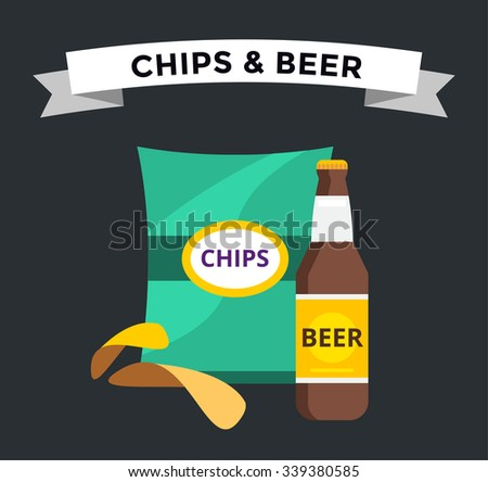 Vector beer snacks chips pack isolated. Beer and chips vector icons set. Beer bottle drink,chips box. Beer bottle silhouette,beer vector icon isolated. Chips snacks beer vector set. Beer alcohol logo  - stock vector