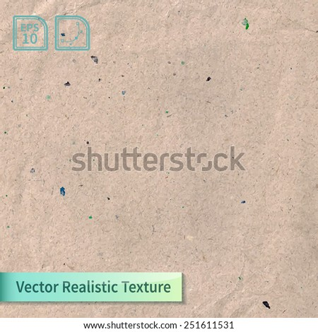 Vector beige rice paper photo texture. Background for your design. Craft crumpled recycled sheet of wrapping paper with wrinkles. - stock vector