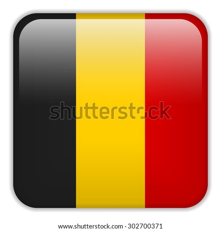 Vector - Belgium Flag Smartphone Application Square Buttons - stock vector