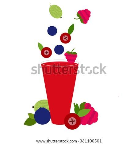 Vector Berries cocktail - stock vector