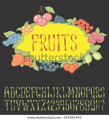 Vector berries pattern with hand made font. With inscription Fruit - stock vector