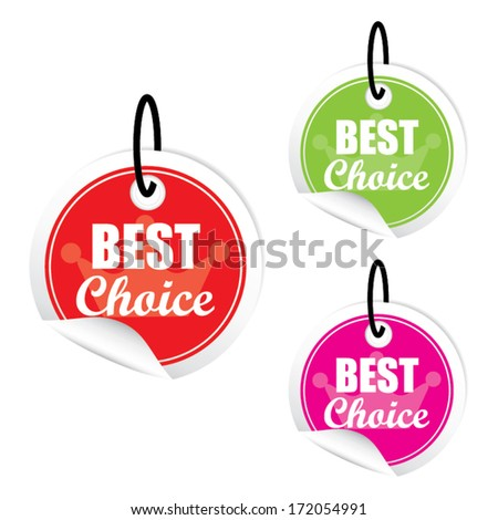 Vector best choice colorful label.