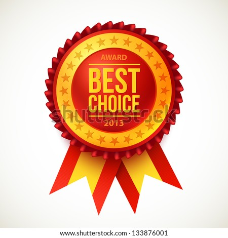 Vector 2013 best choice red label with ribbons. - stock vector