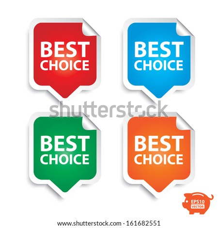 Vector: Best choice stickers or sign set. Eps10.