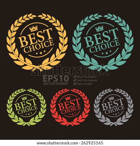 Vector Best Choice Wheat Laurel Wreath, Badge, Label, Sticker, Sign or Icon - stock vector