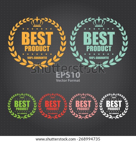 vector : best product 100% guarantee sticker, sign, icon, label - stock vector