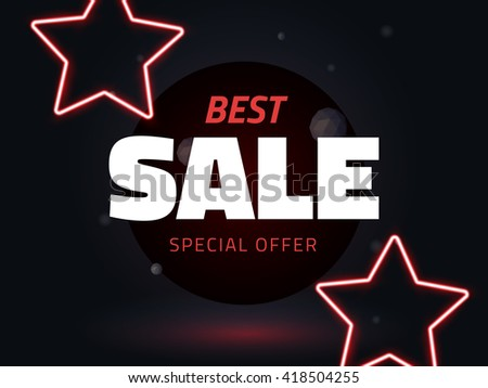 Vector best sale vector illustration, background with neon stars, retro style