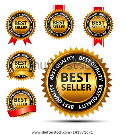 Vector best seller gold sign, label template - stock vector