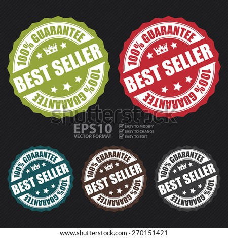 Vector : Best Seller 100% Guarantee Banner, Sign, Tag, Label, Sticker or Icon  - stock vector