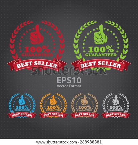 vector : best seller 100% guaranteed ribbon, sticker, sign, icon, label  - stock vector