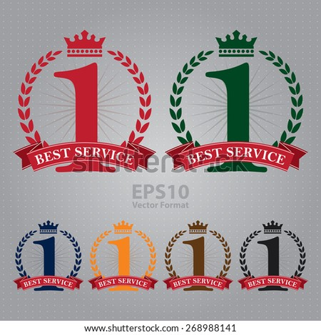 vector : best service ribbon, sticker, sign, icon, label isolated on white - stock vector