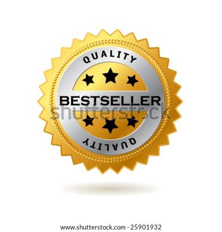 Vector bestseller golden label - stock vector