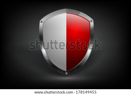 vector bi-coloredl shield with metallic border. Eps10 - stock vector
