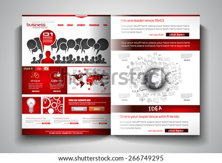 Vector bi-fold brochure template design or flyer layout to use for business applications, magazines, advertising, product sheets, item notes, event flyers or meeting invitations. - stock vector