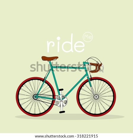Vector bicycle illustration with text Ride Me on tan, light green background.