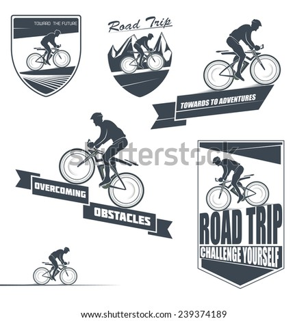 Vector bicycle labels, badges and design elements - stock vector