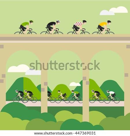 Vector Bicycle Race Illustrations. Tour de France - stock vector