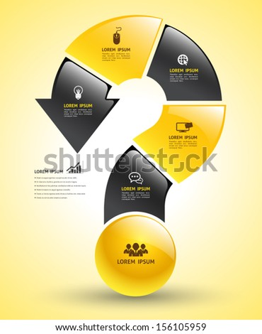 Vector big arrow question mark step business concepts with icons / can use for infographic / loop business report or plan / modern template / education template / business brochure / printing / web - stock vector