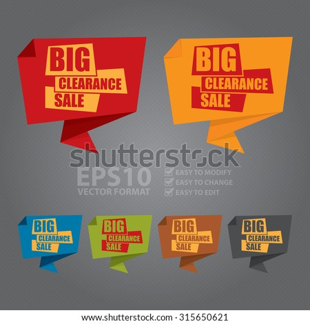 Vector : Big Clearance Sale Paper Origami Speech Bubble or Speech Balloon Infographics Sticker, Label, Sign or Icon - stock vector