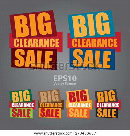 vector : big clearance sale sticker,  icon,  label, banner, sign - stock vector